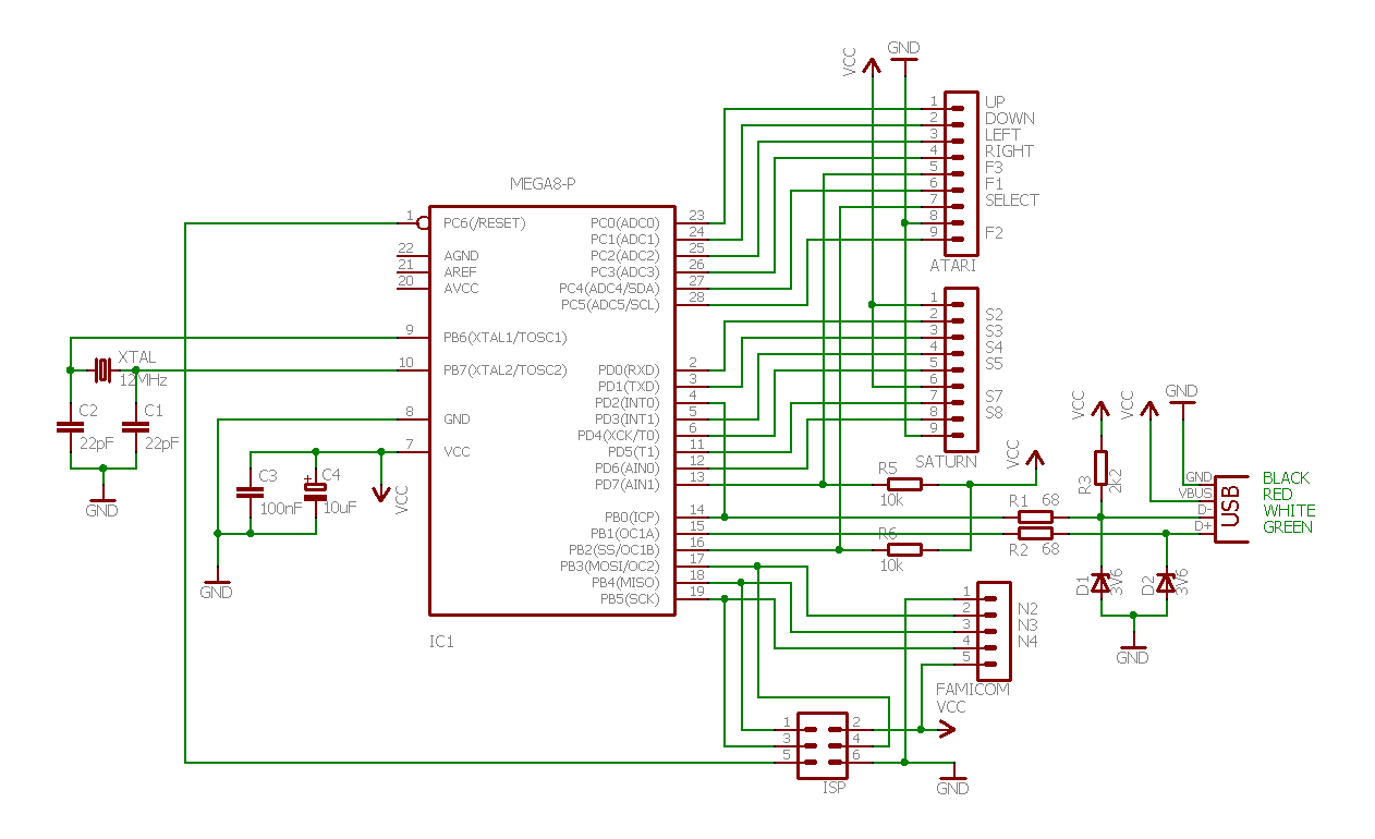retro_schematic usb joystick controller retro adapter Joysticks Connections Diagram at nearapp.co